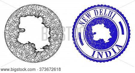 Mesh Stencil Round New Delhi City Map And Scratched Seal Stamp. New Delhi City Map Is Stencil In A R