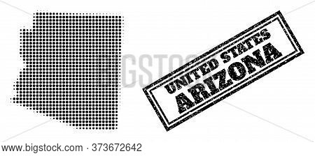Halftone Map Of Arizona State, And Unclean Watermark. Halftone Map Of Arizona State Generated With S