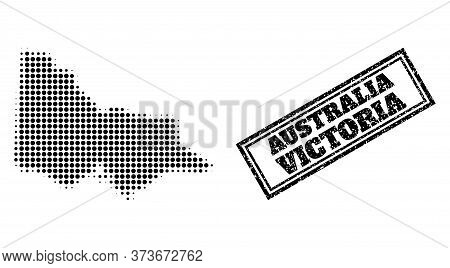 Halftone Map Of Australian Victoria, And Scratched Seal Stamp. Halftone Map Of Australian Victoria M