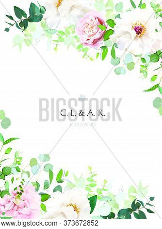 Elegant Floral Vector Card With White And Creamy Woody Peony, Dusty Rose Flower, Hydrangea, Eucalypt