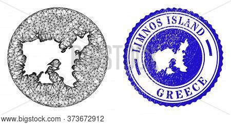 Mesh Stencil Round Limnos Island Map And Grunge Seal. Limnos Island Map Is Stencil In A Circle Stamp