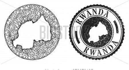 Mesh Stencil Round Rwanda Map And Scratched Seal Stamp. Rwanda Map Is A Hole In A Circle Stamp Seal.