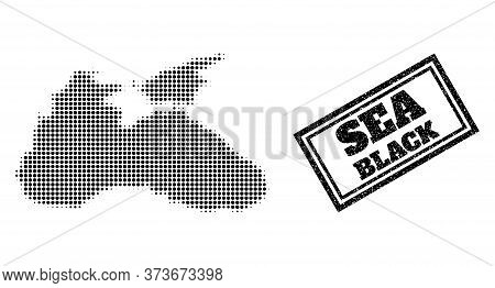 Halftone Map Of Black Sea, And Unclean Watermark. Halftone Map Of Black Sea Generated With Small Bla