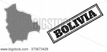 Halftone Map Of Bolivia, And Dirty Seal Stamp. Halftone Map Of Bolivia Made With Small Black Circle