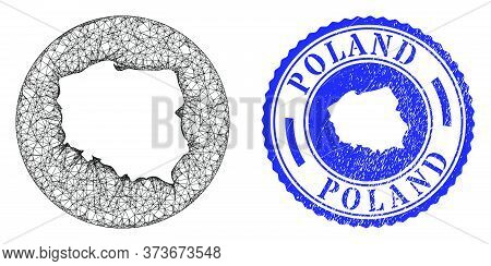 Mesh Stencil Round Poland Map And Scratched Seal Stamp. Poland Map Is Stencil In A Round Seal. Web N