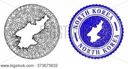 Mesh Hole Round North Korea Map And Grunge Seal Stamp. North Korea Map Is Stencil In A Circle Stamp