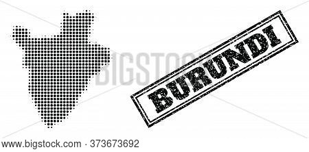 Halftone Map Of Burundi, And Rubber Seal. Halftone Map Of Burundi Constructed With Small Black Round