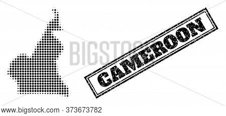 Halftone Map Of Cameroon, And Unclean Watermark. Halftone Map Of Cameroon Generated With Small Black