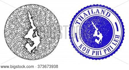 Mesh Inverted Round Koh Phi Leh Map And Scratched Seal Stamp. Koh Phi Leh Map Is Inverted In A Circl