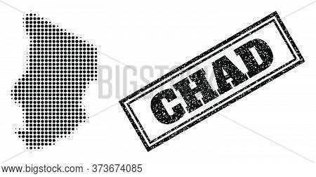 Halftone Map Of Chad, And Rubber Seal. Halftone Map Of Chad Constructed With Small Black Spheric Poi