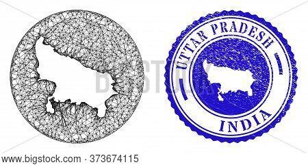 Mesh Stencil Round Uttar Pradesh State Map And Grunge Seal Stamp. Uttar Pradesh State Map Is Inverte