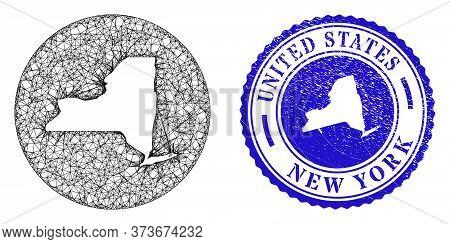 Mesh Hole Round New York State Map And Grunge Seal Stamp. New York State Map Is A Hole In A Round St