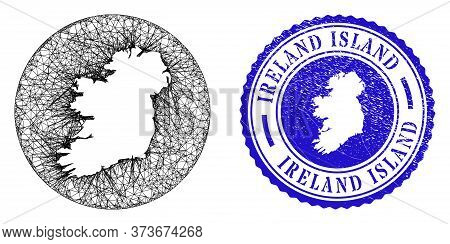 Mesh Hole Round Ireland Island Map And Scratched Seal Stamp. Ireland Island Map Is A Hole In A Circl