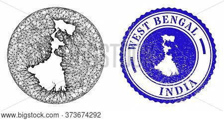 Mesh Inverted Round West Bengal State Map And Grunge Stamp. West Bengal State Map Is A Hole In A Cir
