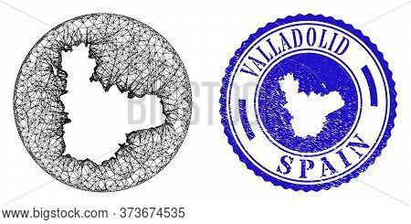 Mesh Stencil Round Valladolid Province Map And Scratched Seal Stamp. Valladolid Province Map Is A Ho