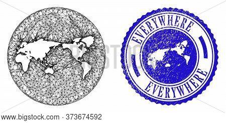 Mesh Inverted Round World Map And Grunge Stamp. World Map Is Inverted In A Round Stamp Seal. Web Car