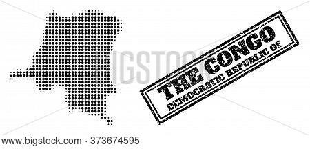 Halftone Map Of Democratic Republic Of The Congo, And Scratched Seal Stamp. Halftone Map Of Democrat