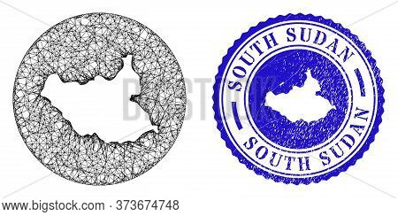 Mesh Subtracted Round South Sudan Map And Grunge Seal. South Sudan Map Is A Hole In A Round Stamp Se