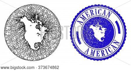 Mesh Stencil Round North America V2 Map And Scratched Seal Stamp. North America V2 Map Is Carved In
