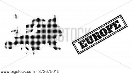 Halftone Map Of Europe, And Scratched Seal Stamp. Halftone Map Of Europe Designed With Small Black S