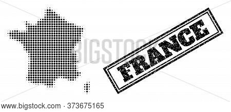 Halftone Map Of France, And Rubber Seal. Halftone Map Of France Constructed With Small Black Round P