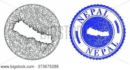 Mesh Stencil Round Nepal Map And Grunge Seal. Nepal Map Is Stencil In A Circle Stamp Seal. Web Net V