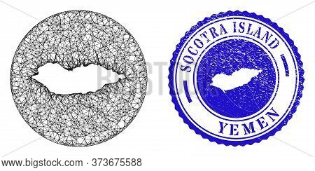 Mesh Inverted Round Socotra Island Map And Scratched Stamp. Socotra Island Map Is A Hole In A Round