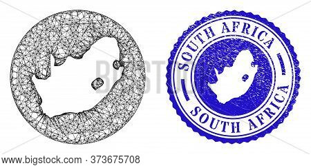 Mesh Stencil Round South African Republic Map And Scratched Seal Stamp. South African Republic Map I