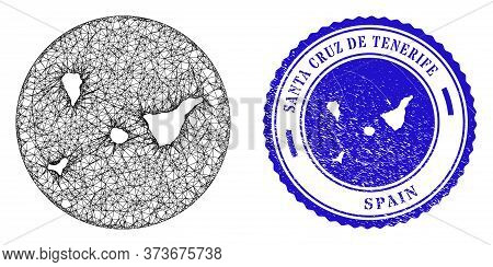 Mesh Subtracted Round Santa Cruz De Tenerife Province Map And Grunge Seal Stamp. Santa Cruz De Tener