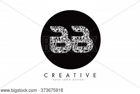 Stylized Sketched Bb Letters With White Lines Pattern Design Logo. Connections Effect Vector Illustr