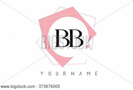 Geometric Double Bb B Letters With Pastel Pink Color Logo Design With Circle And Rectangular Shapes