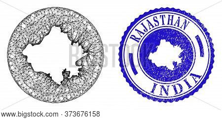 Mesh Subtracted Round Rajasthan State Map And Grunge Seal Stamp. Rajasthan State Map Is Subtracted F