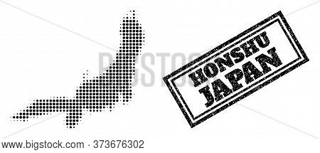 Halftone Map Of Honshu Island, And Unclean Watermark. Halftone Map Of Honshu Island Generated With S