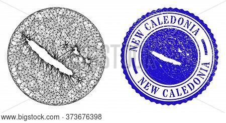 Mesh Hole Round New Caledonia Islands Map And Scratched Seal Stamp. New Caledonia Islands Map Is Ste