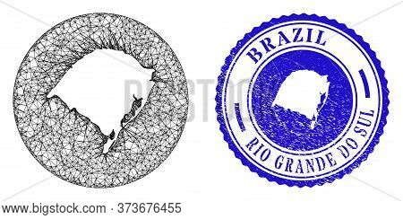 Mesh Stencil Round Rio Grande Do Sul State Map And Grunge Stamp. Rio Grande Do Sul State Map Is Sten