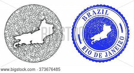 Mesh Stencil Round Rio De Janeiro State Map And Scratched Seal. Rio De Janeiro State Map Is Stencil