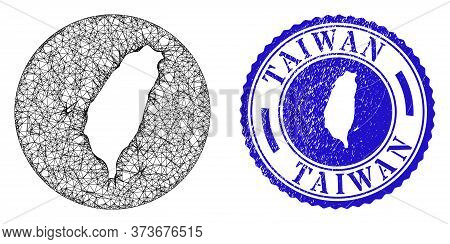 Mesh Hole Round Taiwan Map And Scratched Seal Stamp. Taiwan Map Is Stencil In A Round Seal. Web Mesh
