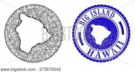 Mesh Inverted Round Hawaii Big Island Map And Grunge Seal Stamp. Hawaii Big Island Map Is Stencil In