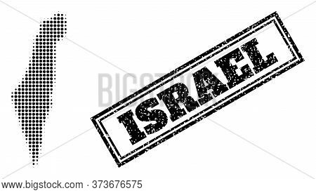 Halftone Map Of Israel, And Dirty Stamp. Halftone Map Of Israel Generated With Small Black Circle Do