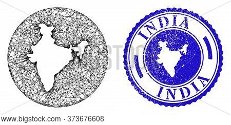 Mesh Stencil Round India Map And Scratched Seal Stamp. India Map Is Stencil In A Circle Stamp. Web M