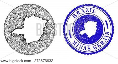 Mesh Hole Round Minas Gerais State Map And Grunge Seal. Minas Gerais State Map Is A Hole In A Round