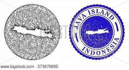 Mesh Inverted Round Java Island Map And Scratched Seal Stamp. Java Island Map Is A Hole In A Circle