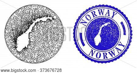 Mesh Subtracted Round Norway Map And Grunge Seal. Norway Map Is Inverted In A Round Seal. Web Net Ve