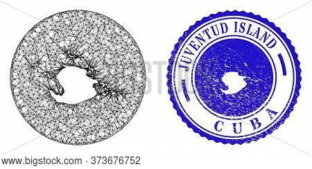 Mesh Stencil Round Juventud Island Map And Scratched Seal. Juventud Island Map Is A Hole In A Circle