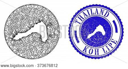 Mesh Stencil Round Koh Lipe Map And Scratched Seal Stamp. Koh Lipe Map Is Stencil In A Round Stamp S