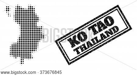 Halftone Map Of Ko Tao, And Scratched Seal. Halftone Map Of Ko Tao Constructed With Small Black Roun