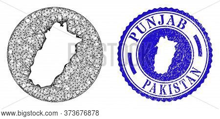 Mesh Inverted Round Punjab Province Map And Scratched Seal Stamp. Punjab Province Map Is Stencil In