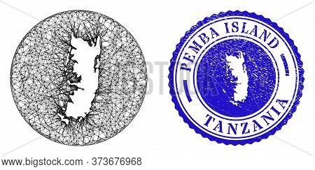 Mesh Stencil Round Pemba Island Map And Grunge Seal Stamp. Pemba Island Map Is A Hole In A Round Sta