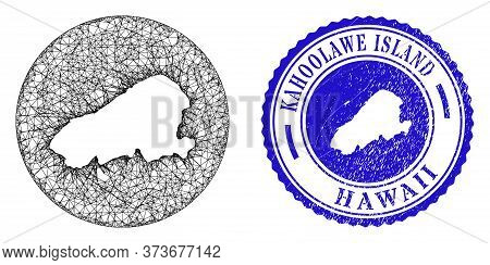 Mesh Stencil Round Kahoolawe Island Map And Scratched Seal Stamp. Kahoolawe Island Map Is Stencil In