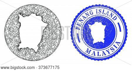 Mesh Stencil Round Penang Island Map And Grunge Seal Stamp. Penang Island Map Is Stencil In A Round